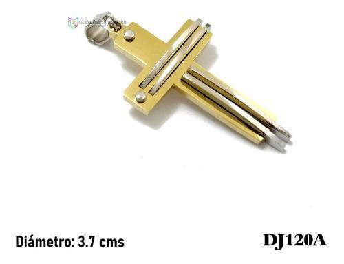 Dije Cruz Resaltada 37mm Acero Inoxidable Bicolor