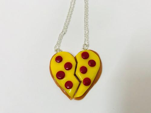 Dije Mejores Amigos Corazon De Pizza Con Cadena