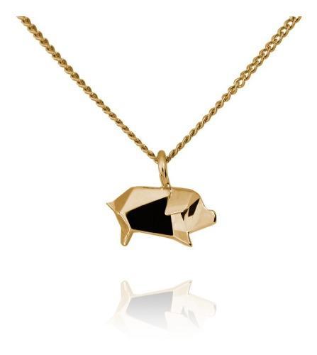 Dije Origami Mini Cerdito De Plata Con Acabado En Oro