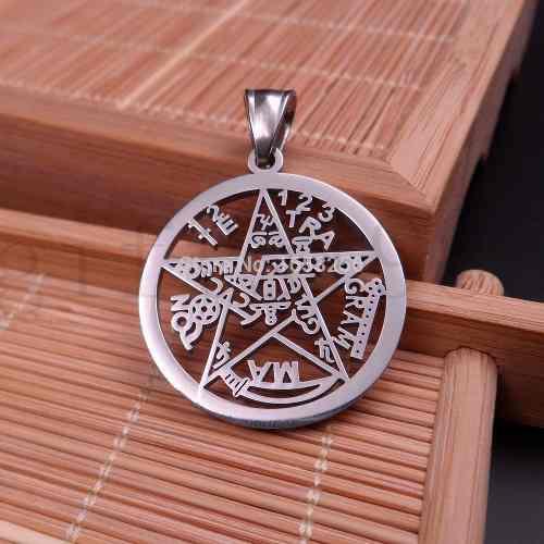 Dije Pentagrama Tetragramaton En Acero Inox. De 30 Mm