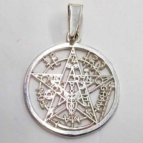 Dije Tetragramaton Pentagrama En Plata Fina 3.5cm Diámetro