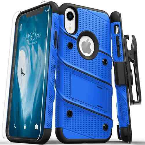 Funda Holster iPhone Xr Zizo Bolt Clip Uso Rudo + Cristal