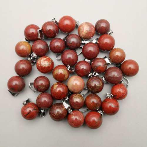 Jaspe Rojo Natural Dije Unisex Esfera Tamaño 14mm