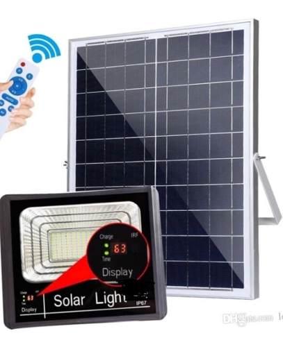 Lampara Solar 120w Con Panel Solar Y Control Remoto