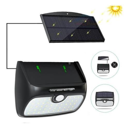 Lampara Solar Exterior 38 Leds Para Pared Con Panel Solar