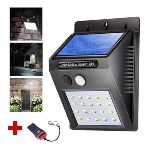 Lámpara Solar 20 Led Sensor Movimiento Para Exterior 2full
