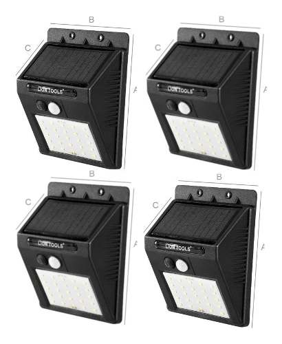 Lámpara Solar Led 4 Pack Sensor De Movimiento 25 Leds Ip65