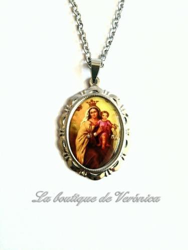 Medalla Medallón Virgen Del Carmen Acero Inoxidable Cadena