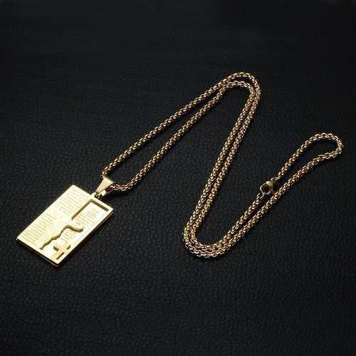 Medalla Padre Nuestro Con Cruz Y Cristo, Acero, Color Oro
