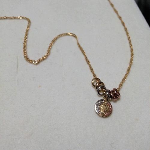 Medalla Y Cadena San Benito Oro Acero Semanario Regalo Mujer