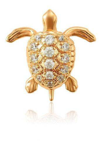 Precioso Dije Tortuga Con Zirconias De Oro 18k Lam + Regalo