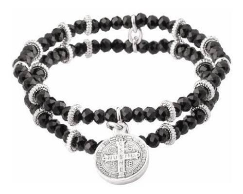 Pulsera Piedras Negra Medalla San Benito Lam Oro Blanco 18k