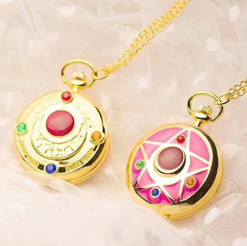Set 2 Reloj Sailor Moon Reloj De Bolsillo Watch Collar