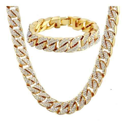 Set Cadena Esclava Diamantada Iced Out Oro Hip Hop Steel Nyc