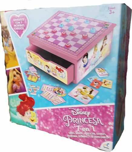Caja De Juegos 7 En 1 Princesas Disney Incluye Cajon Madera