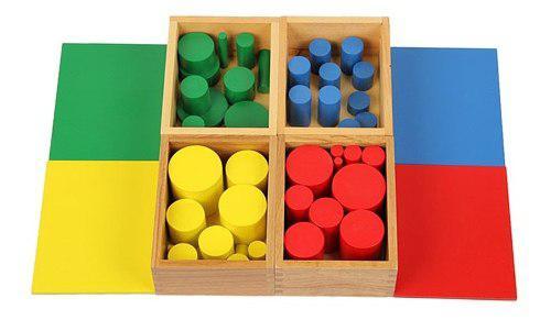 Cilindros De Madera Montessori Material Sensorial 4 Uds
