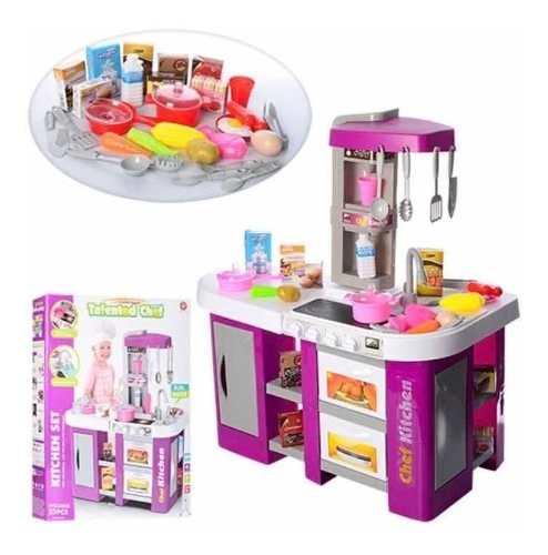 Cocina Cocinita Infantil Agua Luz Y Sonido 53 Pzs Alto 72 Cm