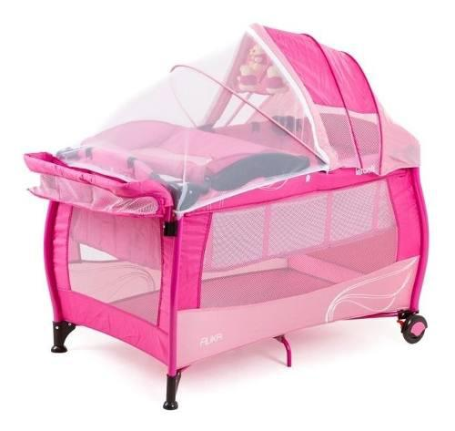 Cuna Corral De Viaje Marca Infantil Color Rosa Cambiador-mus