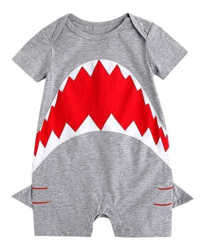 Mono Gris Con Diseño De Tiburón Para Niño Bebé