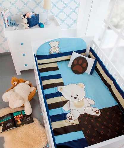 Oferta Set Edredon Para Cuna Bebe Baby Blue Shower