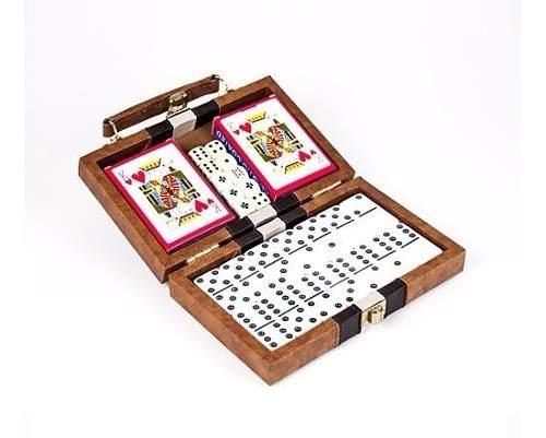 Set Cartas Domino Y Dados En Portafolio De Lujo Para Viaje