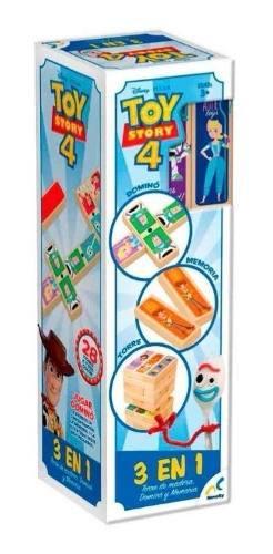 Toy Story 4 Torre De Madera, Domino Y Memoria 3 En 1