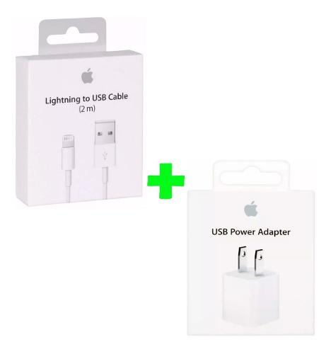 Cable 2 Metros + Cubo Apple iPhone 5/6/7/8/x 100% Original