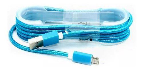 Cable Tela Micro Usb V8 Reforzado Puntas Metalicas - Mayoreo