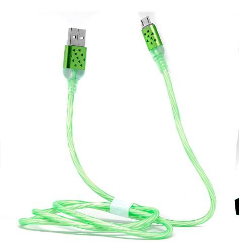Cable V8 Micro Usb Con Luz Led Reforzado Puntas Metalicas