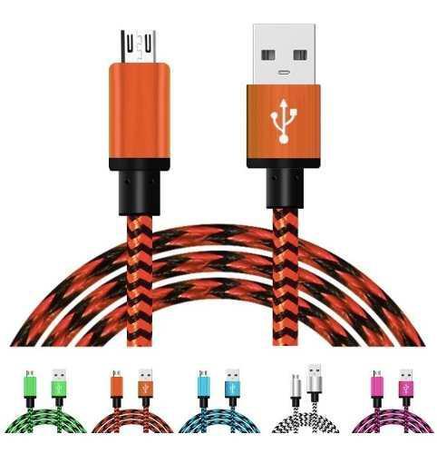 Cable V8 Micro Usb V8 Reforzado Tela Rayo - 20 Piezas
