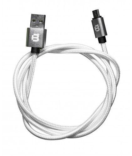 Cable V8 Usb Android 1m Datos Y Carga Blackpcs Tejido Blanco