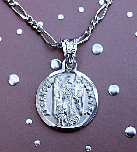 Cadena + Medalla Dije Arcángel Miguel Personalizado Plata