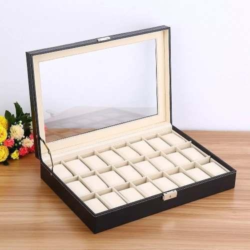 Caja De 24 Reloj Estuche D Cuero Organizador Joyas Exhibidor