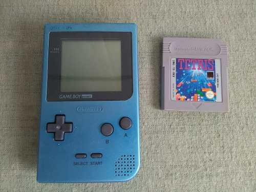Game Boy Pocket Ice Blue Con 1 Juego