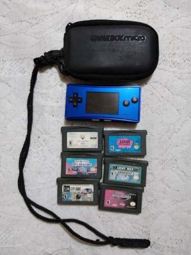 Gameboy Micro Azul Con 6 Juegos,cargador Y Maleta Original