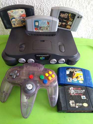 Nintendo 64 Videojuego Consola Con 5 Juegos 007 Garantía