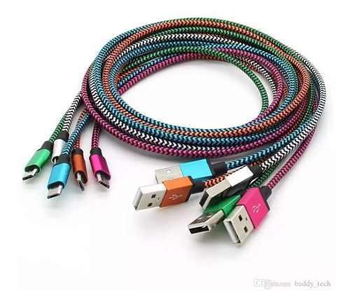 Paquete Con 100 Cables Micro Usb V8 Reforzado Agujeta 1 Metr