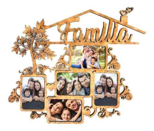 Porta Retrato Mdf Familia 5 Fotos 4xx10cm