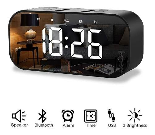Reloj Despertador Digital Bocina Bluetooth Negro