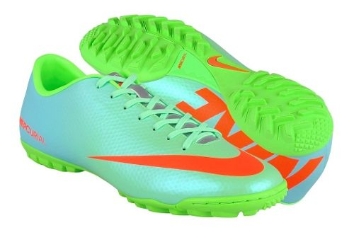 Tenis De Fútbol Nike Para Hombre Simipiel Azul Con Verde
