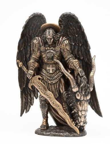 Arcangel Miguel Acabado En Bronce De 28cm Alto
