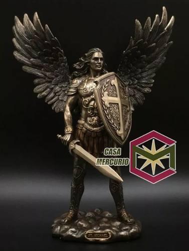 Arcangel Miguel Acabado En Bronce De 35cm De Altura