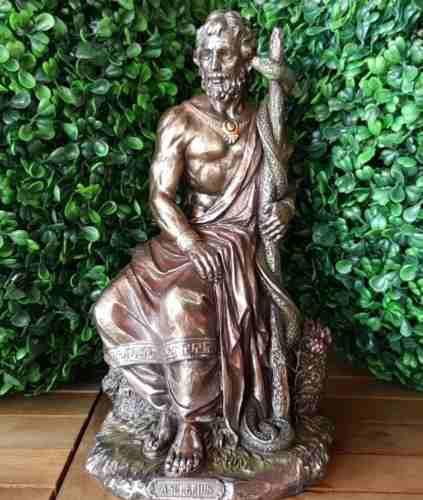 Asclepius Dios Griego De La Medicina Acabado En Bronce 26cm