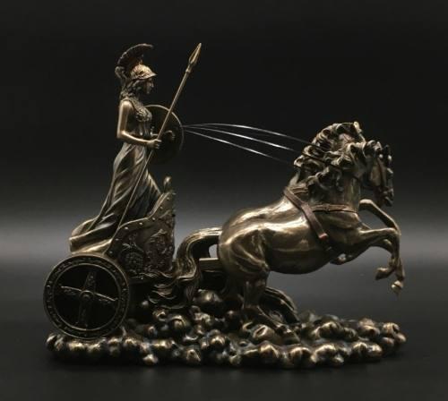 Athena En Carruaje Acabado En Bronce De 26cm De Largo