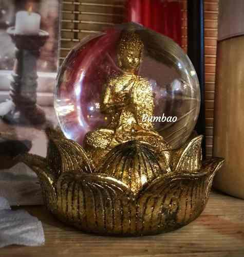 Buda Dorado Estatua De Buda En Esfera De Brillos Buda Loto