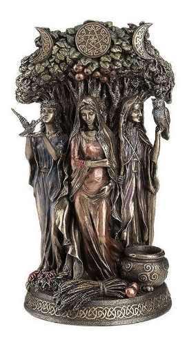 Danu Diosa Celtica Triple Acabado En Bronce De 27cm