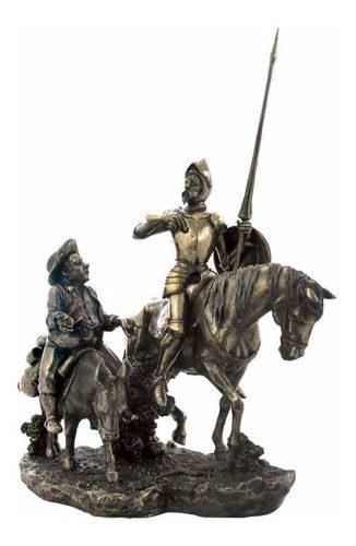 Don Quijote Y Sancho Panza Acabado En Bronce De 34cm De Alto