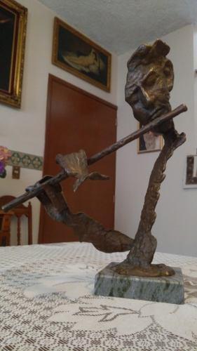 Escultura De Bronce El Flautista De Hamelin Firmada Alemana