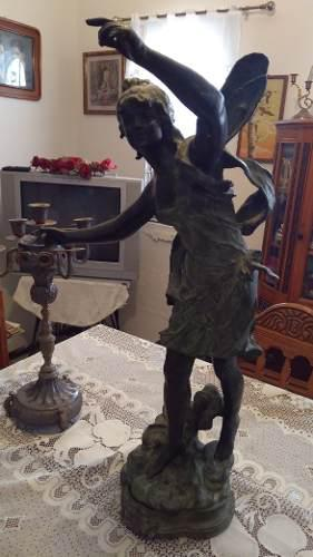 Escultura De Bronce Italiana Hada Ángel Stella Antigua