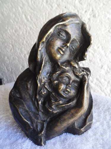 Escultura De Bronce Virgen Maria Y El Niño Jesus Figura